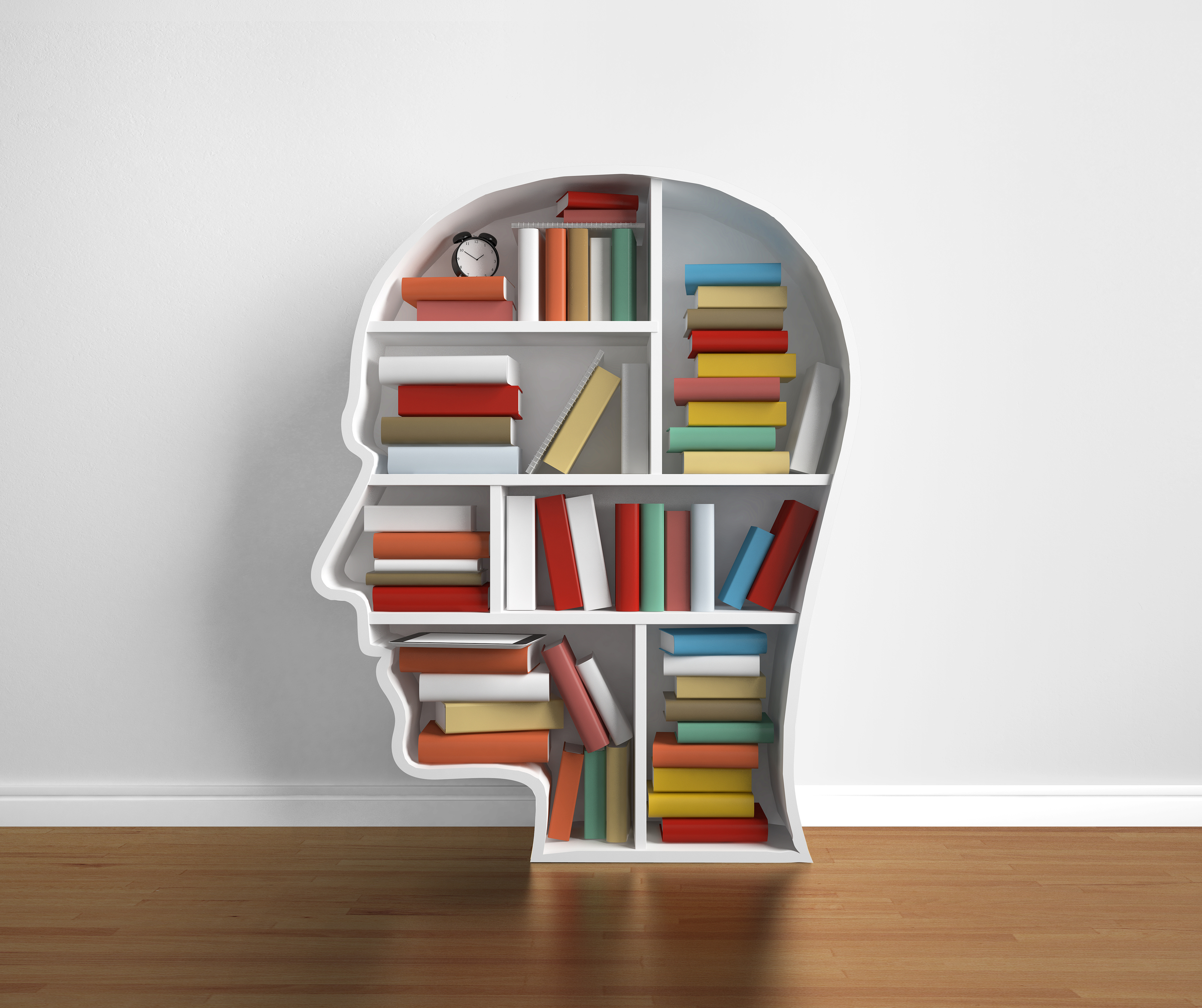 bookshelf head with many book in library