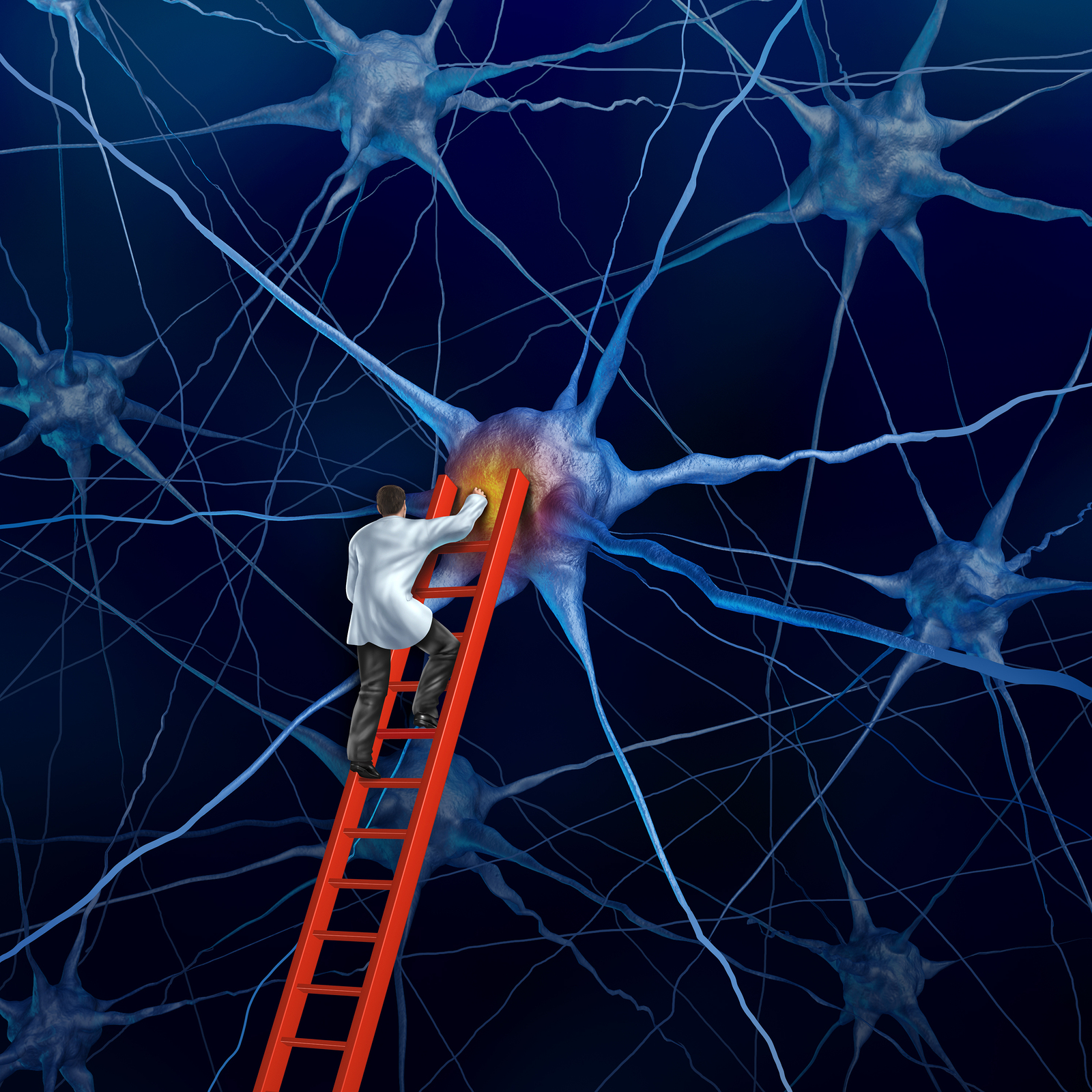 Brain doctor on a red ladder examining the neurons of a human head trying to heal memory loss or damaged cells due to dementia and other neurological diseases as a mental health metaphor for medical research hope.