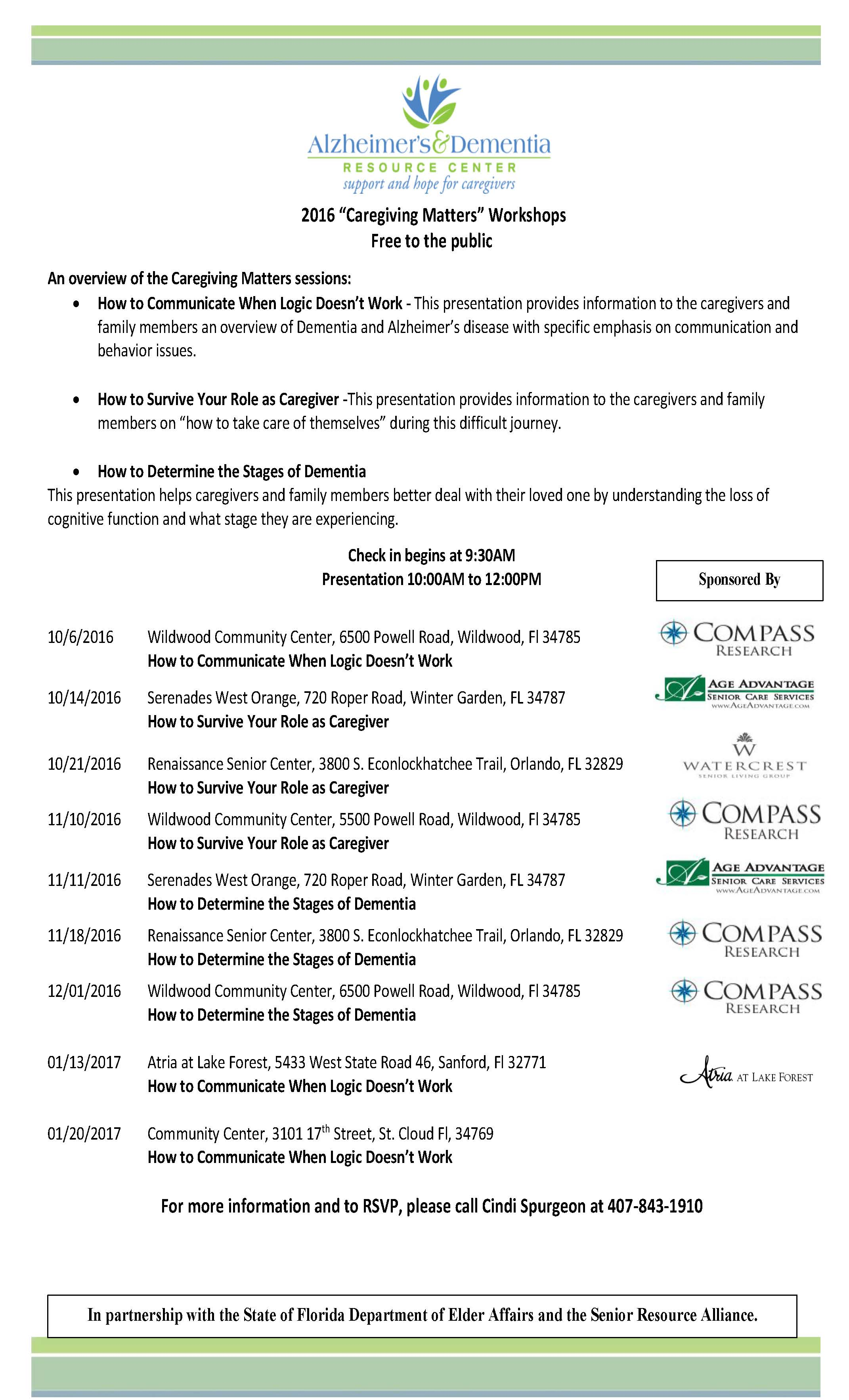 caregiving matters flyers 2016 by date u2013 alzheimer u0027s u0026 dementia
