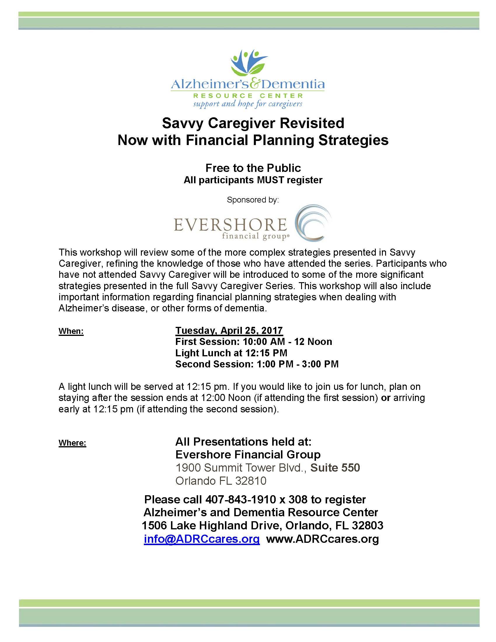 April 25 2017 Savvy Caregiver Revisiteddocx