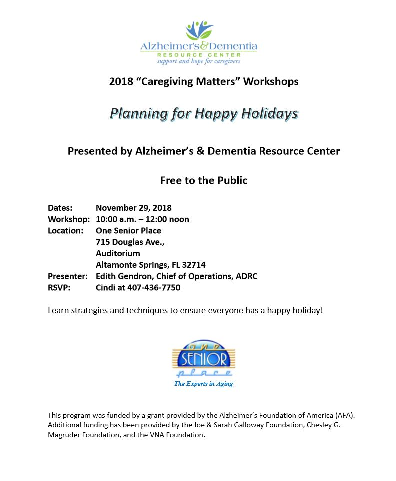 Planning for Happy Holidays